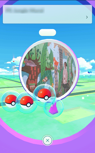 Pokemon Go - pokeballs and potion falling from spinning disc  in pokestop