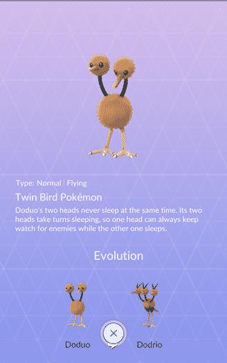 Pokemon Go - pokedex info for Doduo