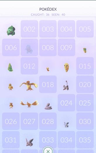 Pokemon Go - pokedex top