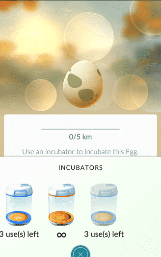 Pokemon Go - putting an egg in an incubator