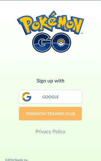 Pokemon Go - sign in screen