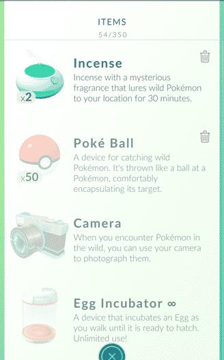 Pokemon Go - starting bag items