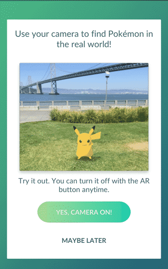 Pokemon Go - turn camera on or off