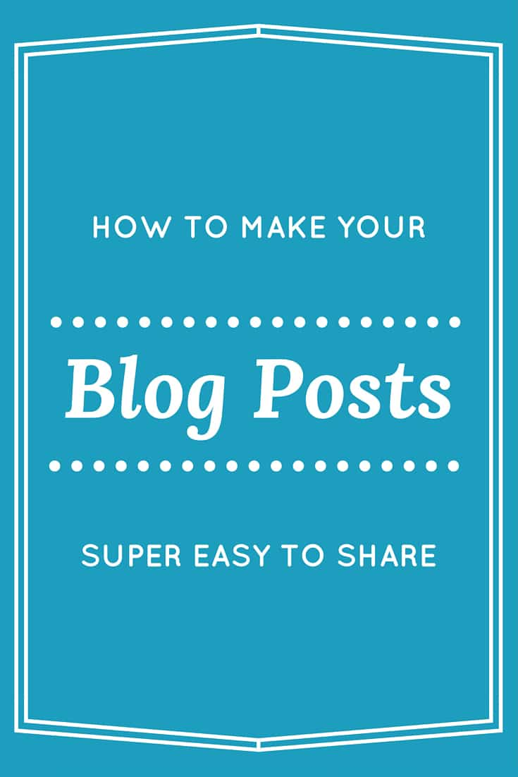 Want to make it super easy for your readers to share your posts on social media? Give them large images and do the work for them! All of the instructions are here. This will take you just a few extra minutes per post, but will get people sharing who have never shared a blog post before.