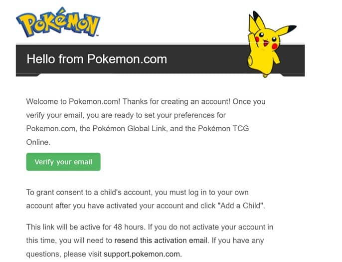 Pokemon Go Welcome email