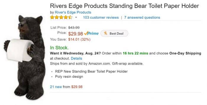 Standing Bear Toilet Paper Holder on Amazon
