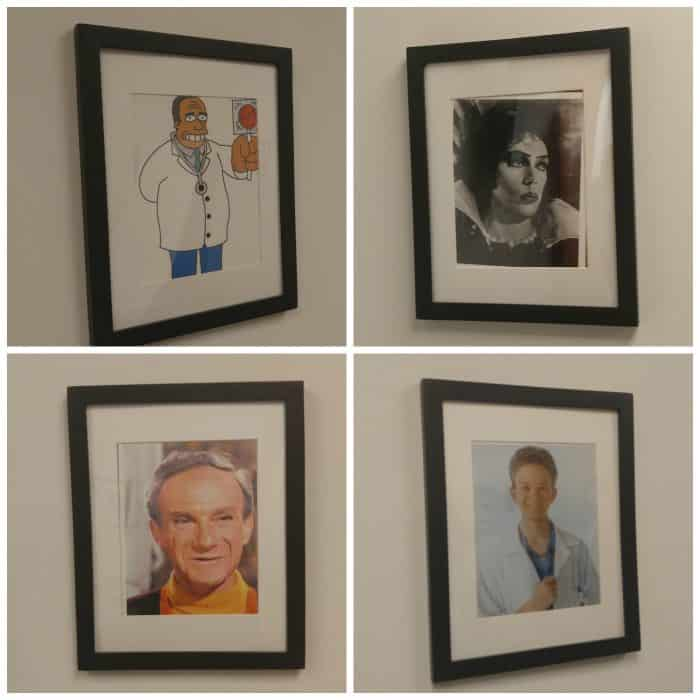 Pictures of TV doctors at a GoHealth Urgent Care clinic