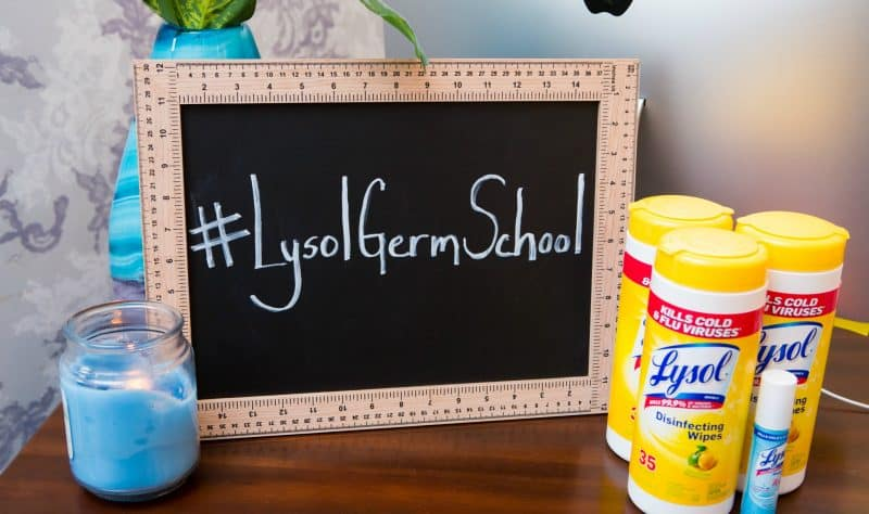 Lysol Germ School slate with Lysol products on table