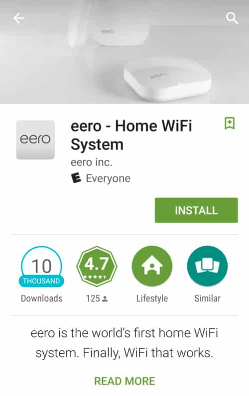eero Home WiFi System screenshot - install app