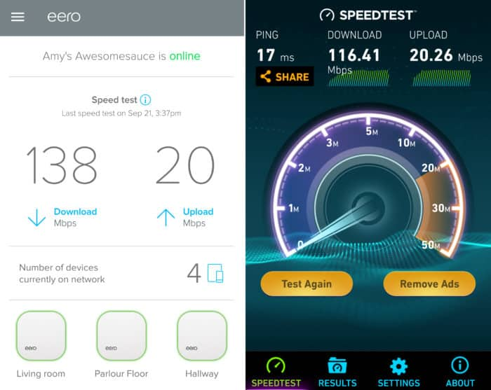 eero Home WiFi System screenshots - speed tests