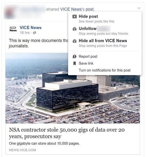 Buzzfeed Partisan Facebook Page Study: Hide all from VICE News