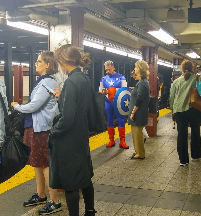 New York Comic Con - Captain America waiting for the subway at Penn Station