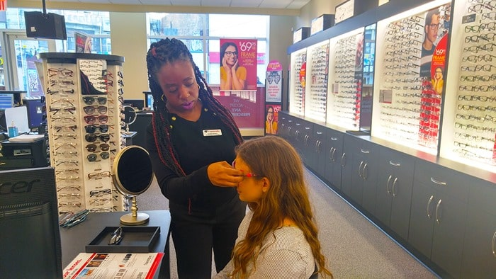 Visionworks - general manager Vonetta helping my daughter with her glasses