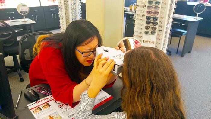 Visionworks - licensed optician Nicole measuring pulilary distance