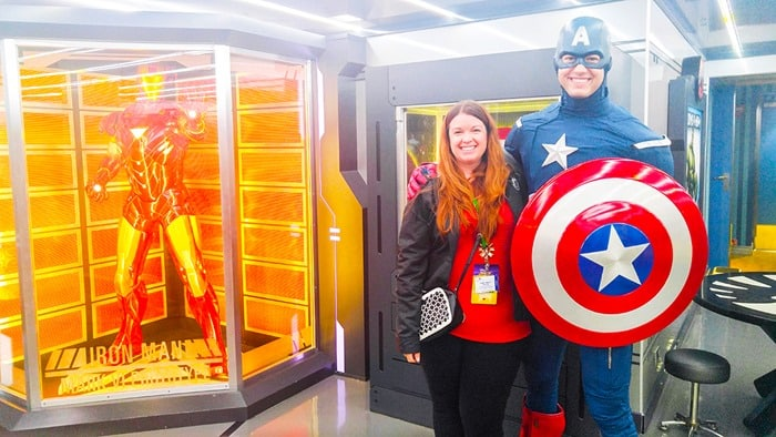 Disney Cruise NYC - Amy Oztan and Captain America on the Disney Magic