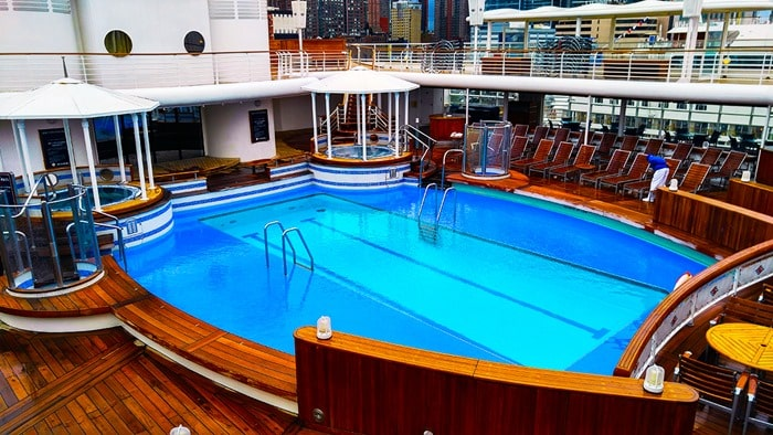 Disney Cruise NYC - adults-only pool area on the Disney Magic