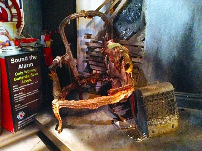 FDNY Fire Zone NYC - burned chair in the interactive fire experience