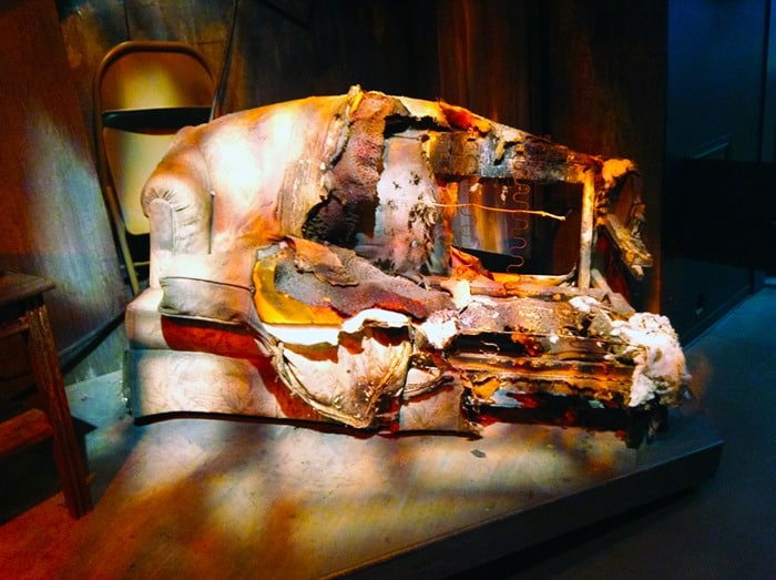 FDNY Fire Zone NYC - burned couch in the interactive fire experience