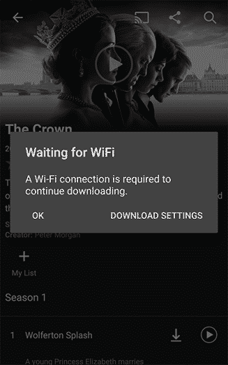 Netflix Downloads - Waiting For WiFi