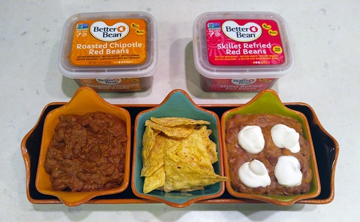 Game Day Babbleboxx - Garden of Eatin' chips and Better Bean beans Roasted Chipotle and Skillet Red, both in their packages and in pretty bowls