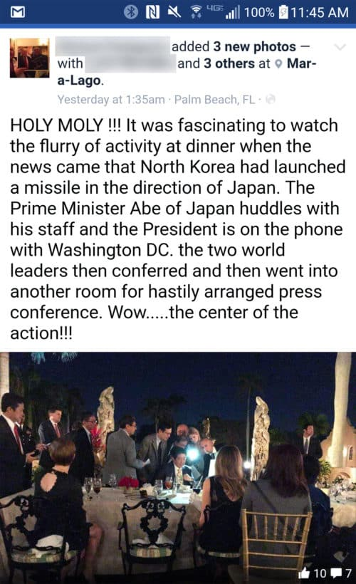 A Mar-A-Lago diner was able to snap pictures of President Trump and Japanese Prime Minister Shinzo Abe reacting to a crisis, and he posted them on Facebook. Is this normal? Did President Obama conduct business like this with people looking on and waiters listening?