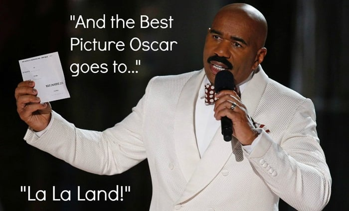 """And the Best Picture Oscar goes to...La La Land"" -Steve Harvey reading from a card"