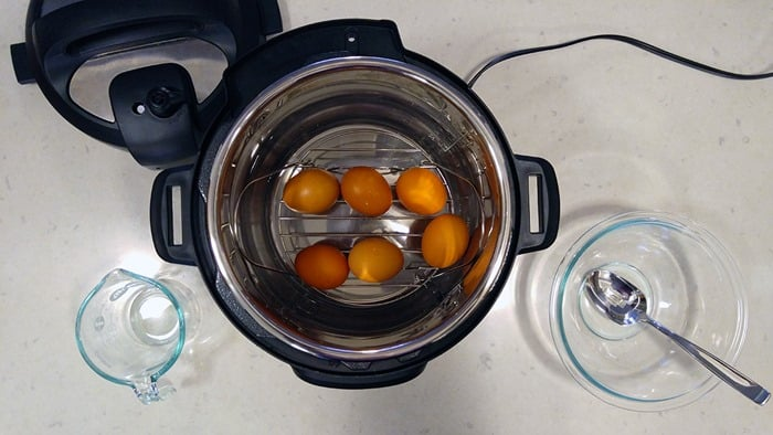 Instant Pot Hard Boiled Egg Recipe - brown eggs in Instant Pot