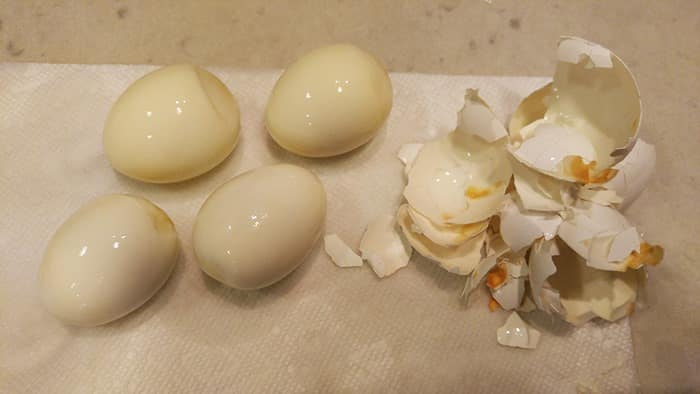 Instant Pot Hard Boiled Egg Recipe - peeled with dark spots