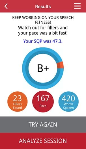 LikeSo Speech App - TalkAbout Results Score