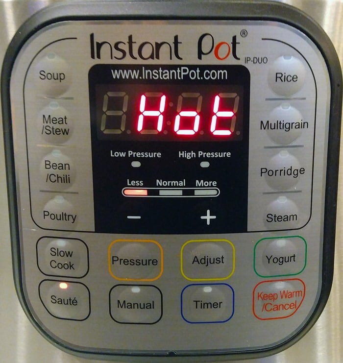 Instant Pot recipe for risotto - Saute function, hot