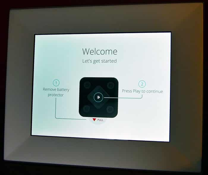 Nixplay Wifi Picture Frame - welcome screen