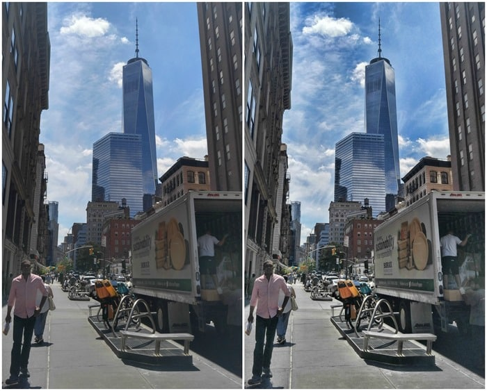One World Trade before and after using the BeFunky Photo Enhancer