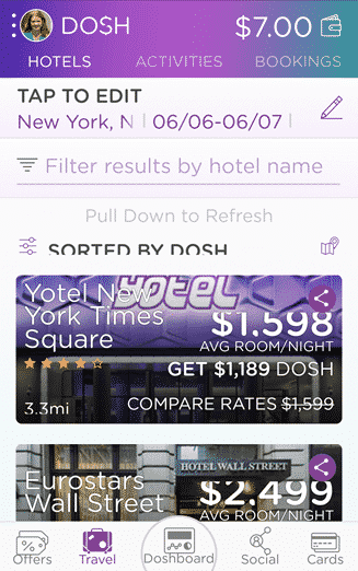 cashback from hotels with the dosh app