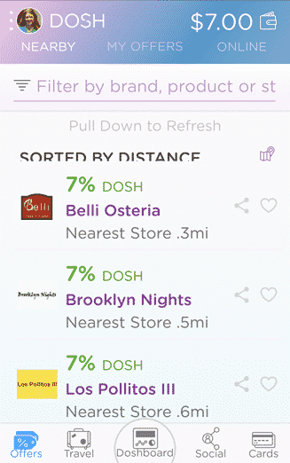 nearby restaurants on the DOSH app