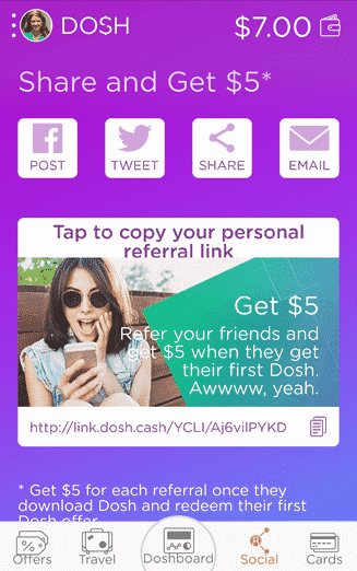 refer a friend to the DOSH app and get $5