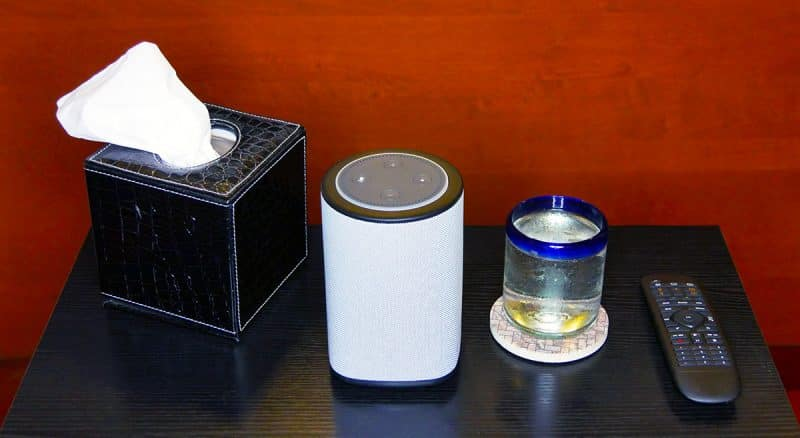 Best Speaker for Echo Dot - the Vaux Cordless Speaker with Echo Dot unplugged on my table