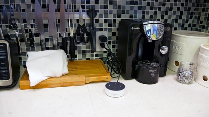 Best Speaker for Echo Dot - Dot on kitchen countertop