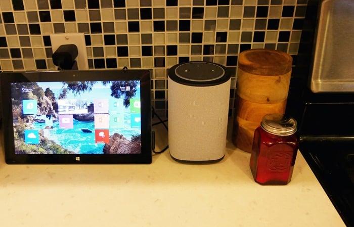 Best Speaker for Echo Dot - the Vaux Cordless Speaker with Echo Dot on countertop 2