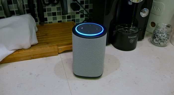 Best Speaker for Echo Dot - the Vaux Cordless Speaker with Echo Dot on countertop