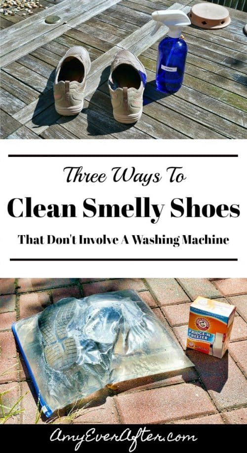 Do your shoes stink? If you can't put them in the washing machine, how the heck do you get them smelling fresh again? I've got you covered with three proven methods for how to clean smelly shoes - no washing machine required! Read my post to find out how to clean smelly shoes with vodka, baking soda and water, or just your freezer!