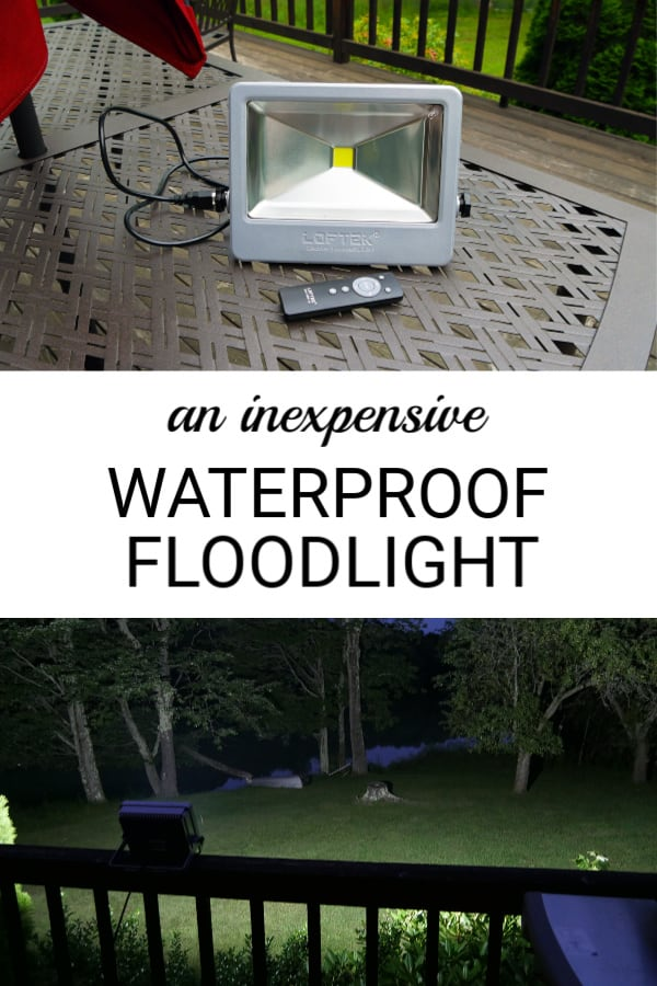 Looking to light up a big space without spending a lot of money? This inexpensive waterproof LED floodlight is what you need! It is super bright, can light up a large space, and has an automatic shut-off timer. It can be moved from place to place or mounted on a wall. If you need to use floodlights outdoors you should definitely check this one out! #outdoors #garden