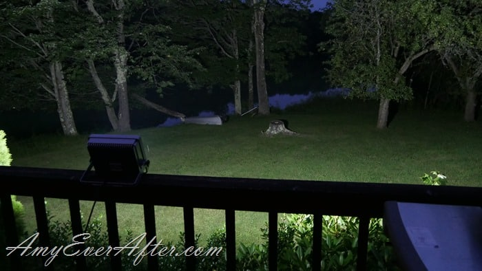 Loftek Nova Floodlight lighting up our lawn