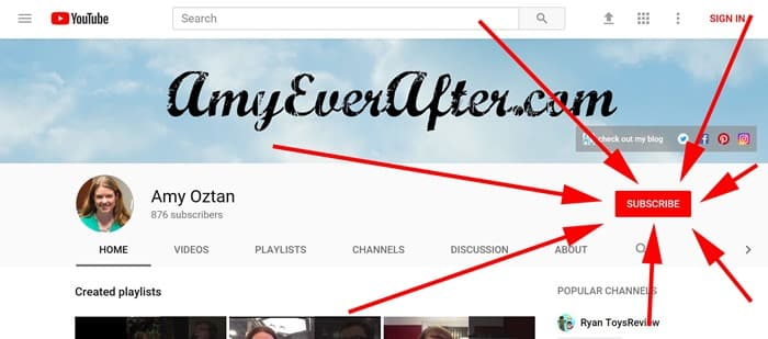 Amy Oztan YouTube page