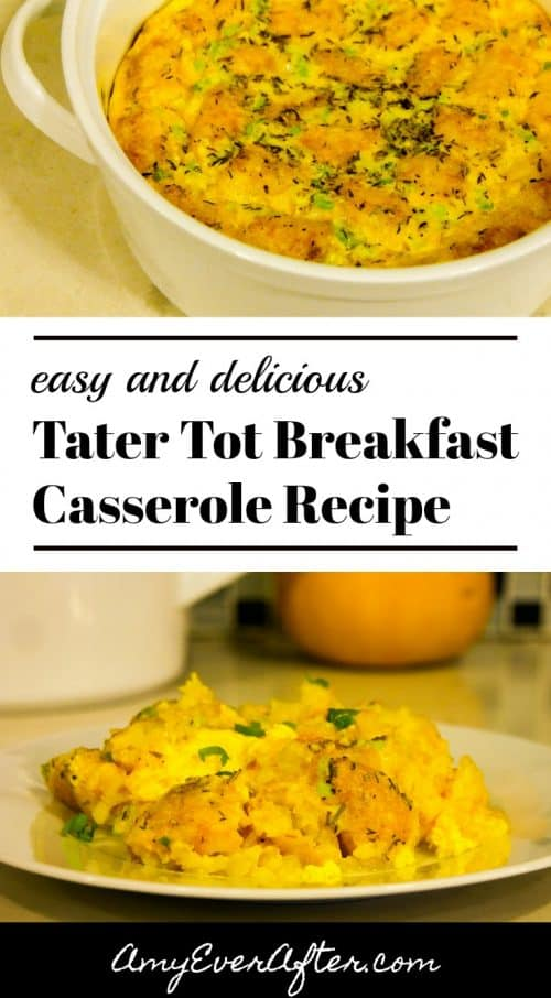 Are you looking for easy breakfast ideas? My Tater Tot Breakfast Casserole recipe is perfect: easy and delicious! When throwing together this easy breakfast casserole you can use pre-shredded cheese and dried chives to make it completely prep-free, or dress it up by adding some meat or veggies.