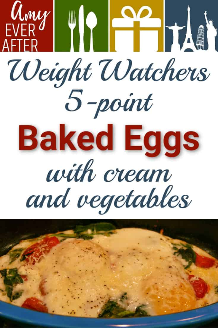 Looking for a breakfast or brunch dish that's adaptable for everyone in your family? Try baked eggs with cream and vegetables! Baking eggs in the oven this way is easy, especially if you're trying to please people with different tastes, since each serving is baked up in its own dish. Personally, I like mine with tomatoes, spinach, and a little Parmesan, but you get to make this recipe your own! #BakedEggs #Breakfast