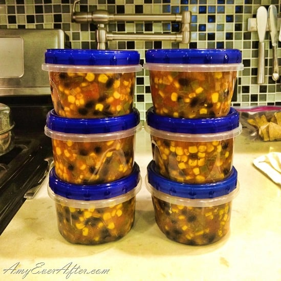 One-Point Mexican Soup for Weight Watchers in six containers on my counter