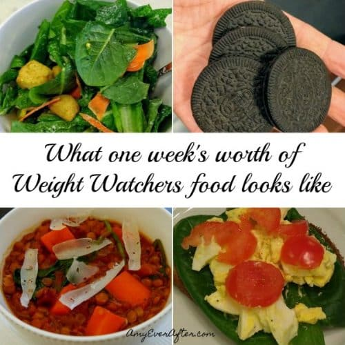 Wondering what you can eat on Weight Watchers Freestyle? Here's an entire week of what I ate - with pictures and points - while losing more than two pounds! There are so many zero-points foods to fill up on, you can save SmartPoints for indulging on things like pasta and bread! #WeightLoss #WeightWatchers
