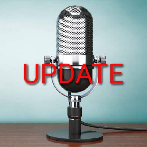 "A microphone with the word ""update"" in all caps"