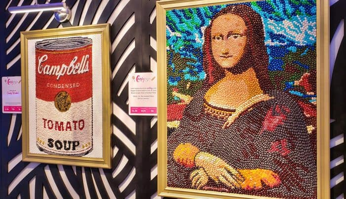 Candytopia art depicting a Campbell's Tomato Soup can and the Mona Lisa