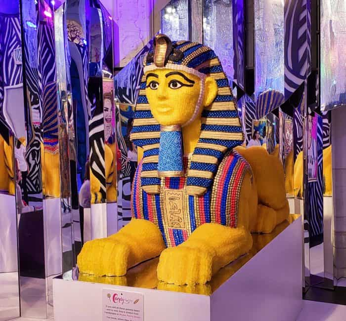 A big Sphinx statue made out of candy at Candytopia